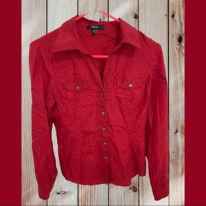 ⭐️NWOT Express Red Silky Shirt Size XS⭐️